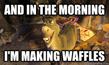 Donkey from Shrek making waffles