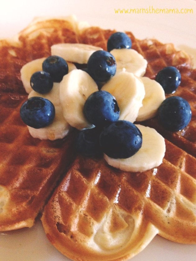 Waffles with Banana and Blueberries